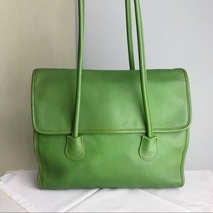 Vintage COACH Green Flap Shopper Tote / Bag RARE